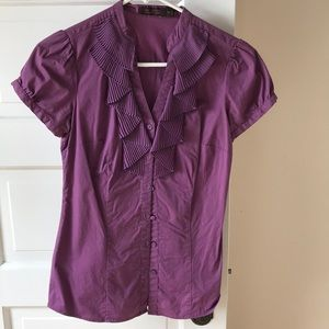 Purple button down blouse size xs